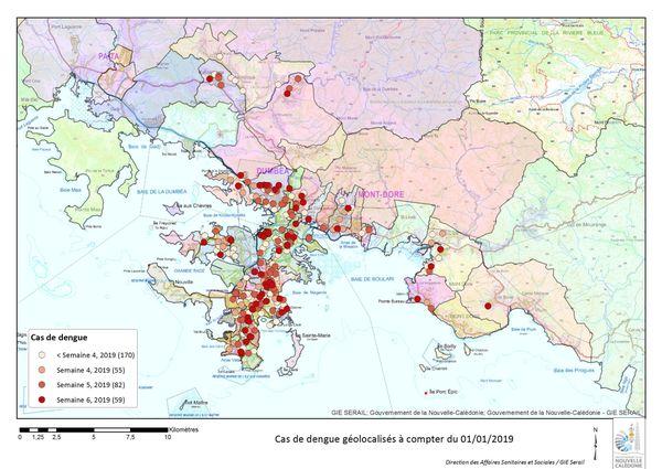 Carte des cas de dengue Nouméa, Dumbéa, Mont-Dore