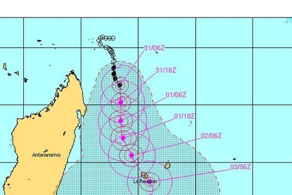 Bejisa prévision de trajectoire le 31/12/13 à 16 heures