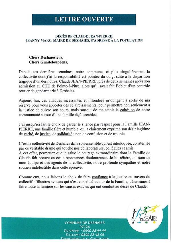 Communiqué Jeanny Marc - Décès Claude Jean-Pierre - page 1