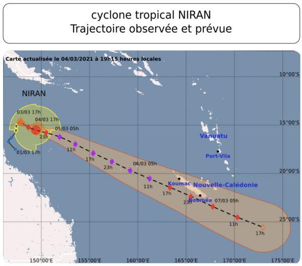 Cyclone Niran, trajectoire prévue jeudi à 19h15