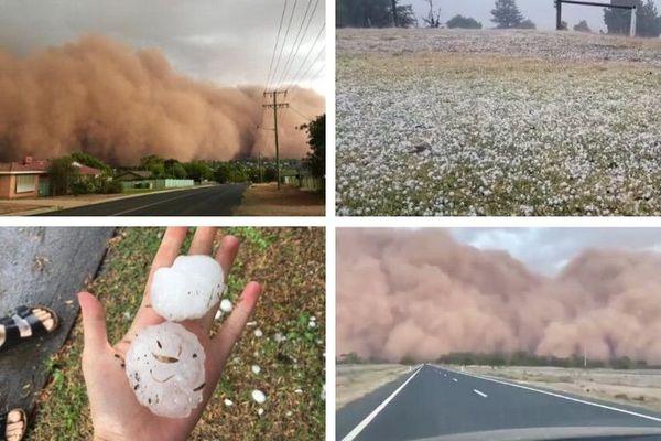 Mosaique poussière et grêle en Australie