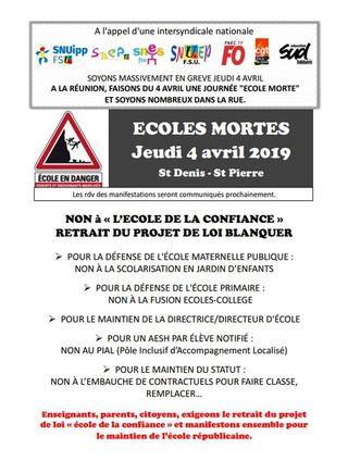 greve education nationale jeudi 4 avril 2019 tract