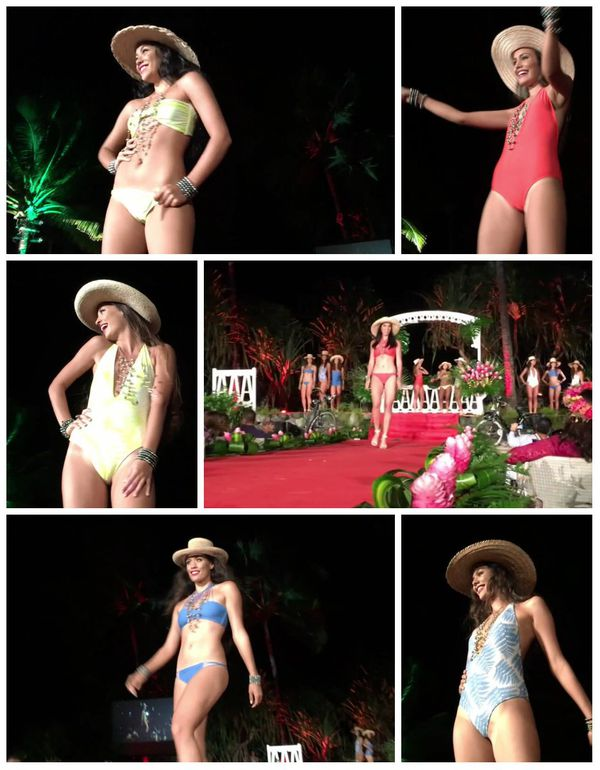Les 5 premières candidates en maillots de bain - Gala Miss Tahiti 2016