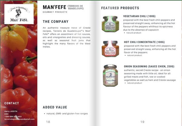 Les produits de Man Féfé retenus pour le programme  Exotic tastes of France