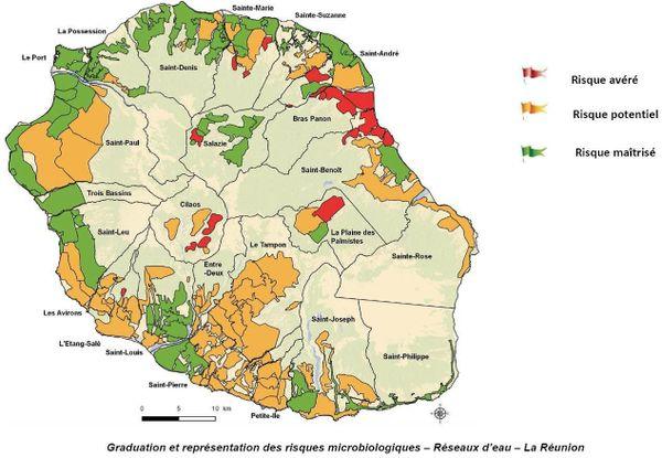 graduation et représentation des risques microbiologiques des réseaux d'eau à La Réunion