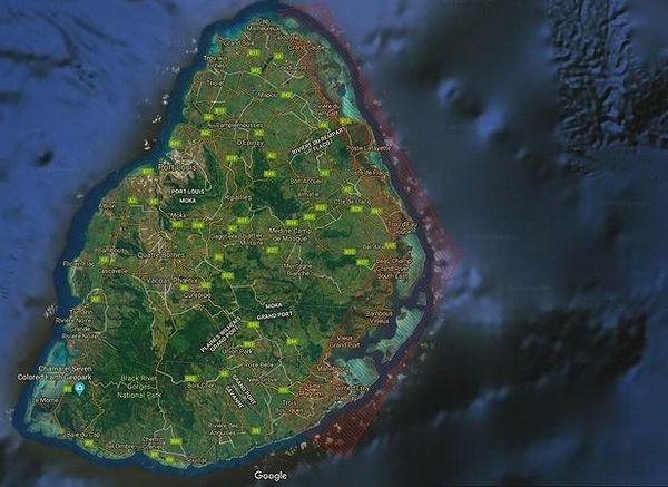 Carte de la côte Est de l'île Maurice impactée par la Marée-Noire septembre 2020