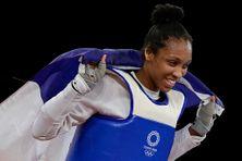 La joie d'Althéa Laurin après sa médaille de bronze en taekwondo + 67 kg, remportée à Tokyo le 27 juillet 2021.
