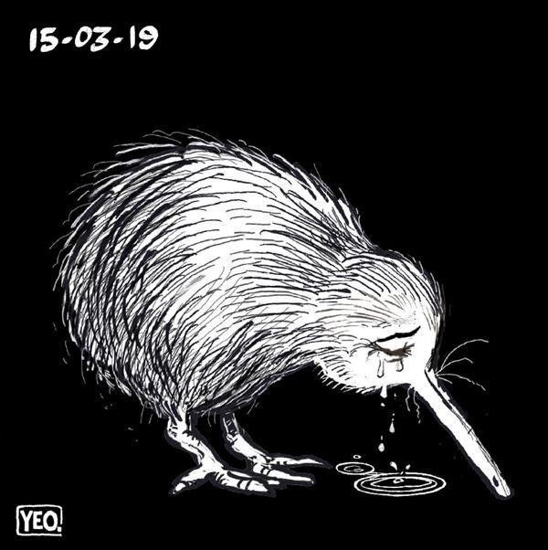 Christchurch, dessin du kiwi qui pleure