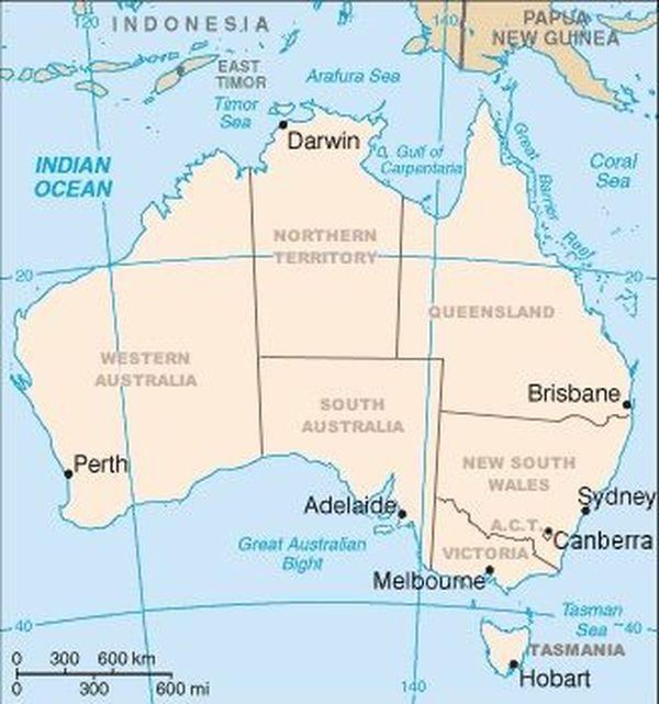 Carte des états australiens.