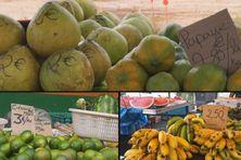 Présentation de fruits ua marché de Cayenne