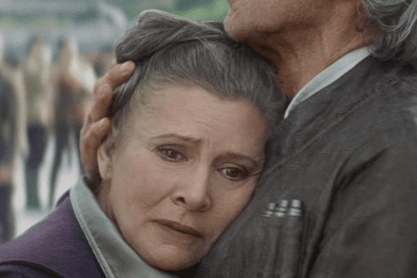 """Carrie Fisher lors du tournage du """"Réveil de la force"""" en 2015"""