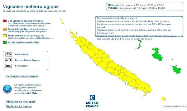 Vigilance jaune pluies et orages 12 février