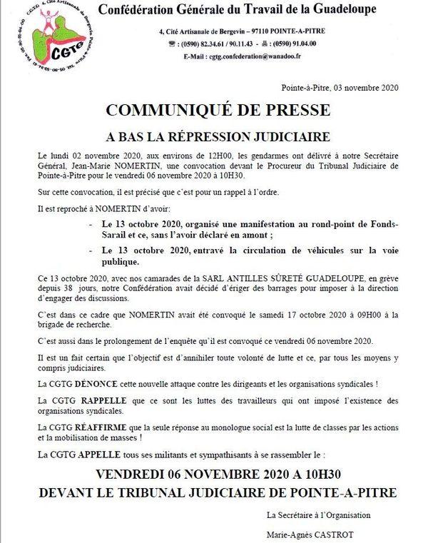 """Communiqué CGTG - """"A bas la répression judiciaire"""""""