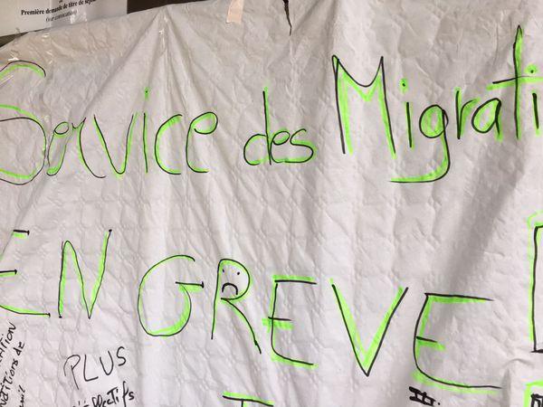 Pancarte des grévistes de préfecture de Mayotte
