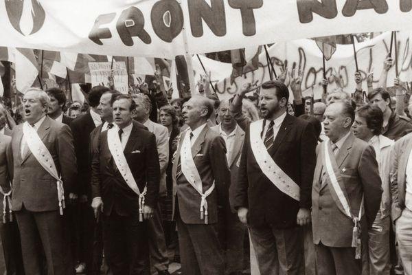 Jean Fontaine à la manif école libre, 1984