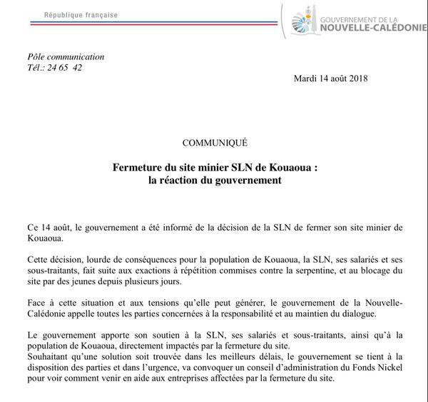 SLN fermeture Kouaoua. Communiqué gouvernement