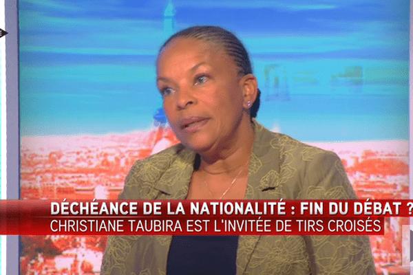 Christiane Taubira interviewée sur iTélé
