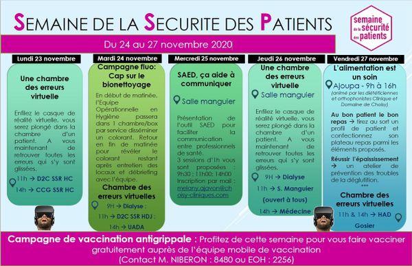 Programme de la Semaine de la sécurité des patients 2020, à la clinique et au domaine de Choisy