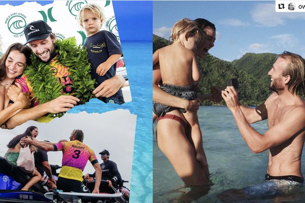 Le vainqueur de la Tahiti Pro fait sa demande en mariage à Teahupo'o