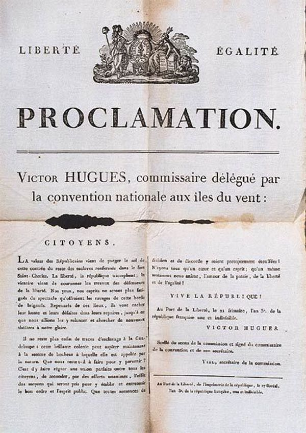 Proclamation de Victor Hugues