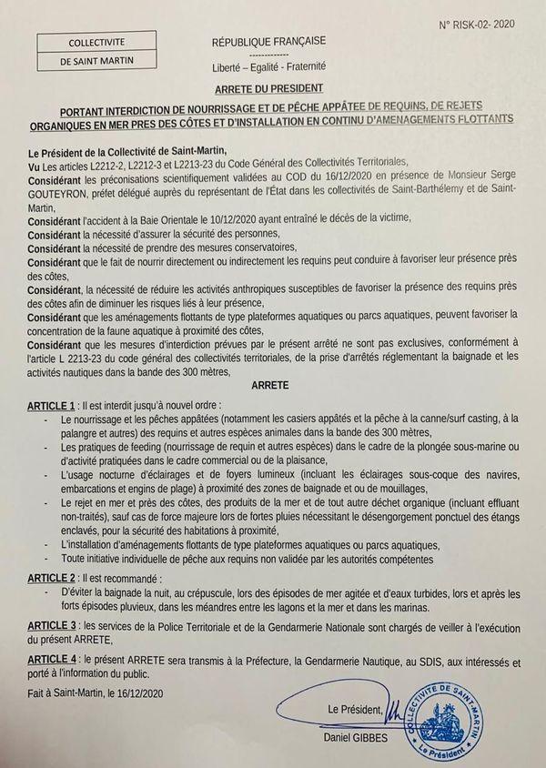 Arrêté collectivité Saint-Martin - Requin