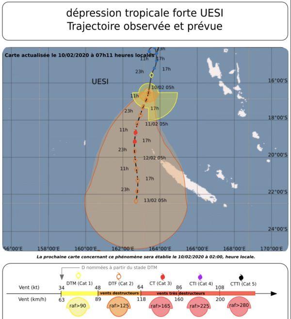 Prévision de trajectoire d'Uesi le 10 février 2020, vers 7 heures.