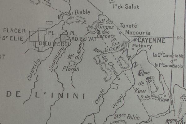 Morceau de carte de l'Inini