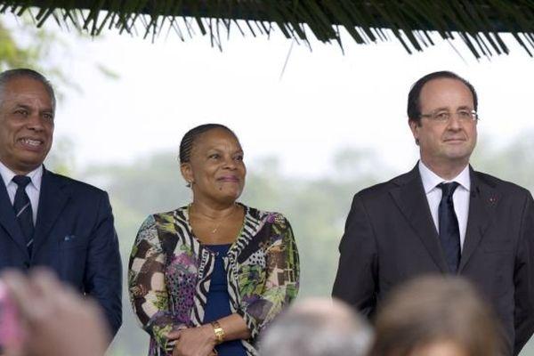 Victorin Lurel, Christiane Taubira et François Hollande en Guyane 14/12/2013