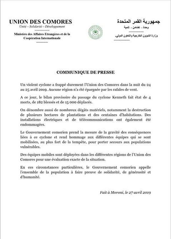 Communiqué de l'Union des Comores