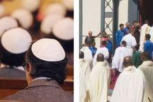 Cérémonie juive (à gauche), cérémonie catholique (à droite).