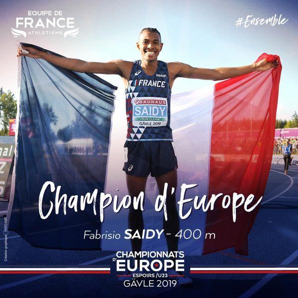 Fabrisio Saidy, champion d'Europe espoirs 2019 sur 400 mètres