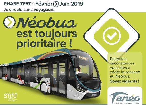 Néobus, visuel de la campagne d'information sur la phase test.