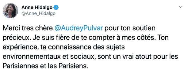 Capture tweet Paris Anne Hidalgo