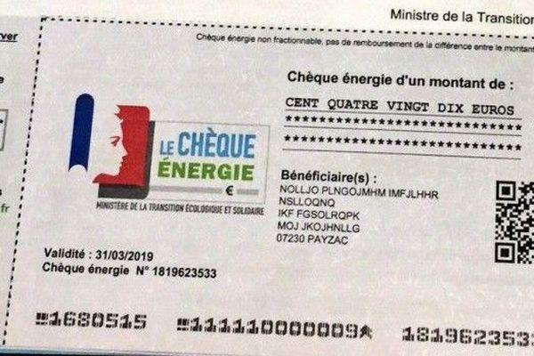 Chèque énergie spécimen