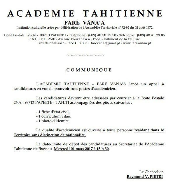 L'Académie tahitienne recrute