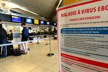 Une pancarte met en garde les voyageurs contre le virus Ebola, le 21 août 2014 à l'aéroport Saint-Exupéry de Lyon (Rhône).