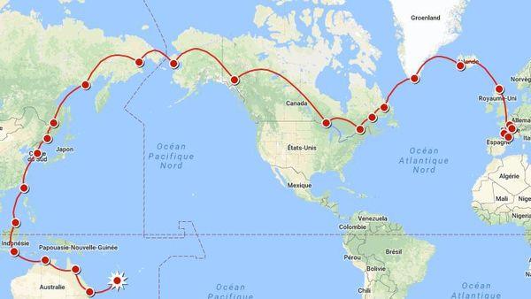 Carte tour du monde Hugues Jurion