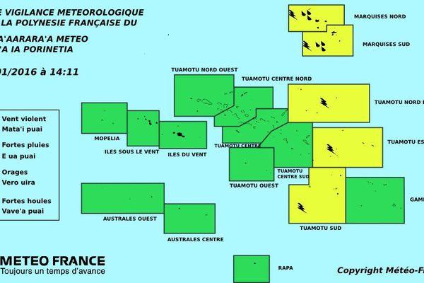 Mauvais temps persistant aux Marquises et sur l'Est des Tuamotu