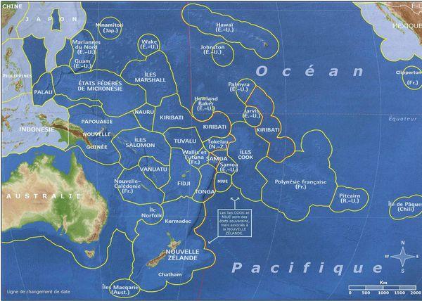 Ligne de changement de date dans le Pacifique sud