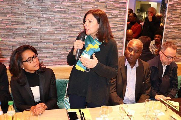 Anne Hidalgo avec ses soutiens Audrey Pulvar et Jacques Martial, février 2020