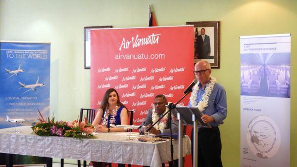 Annonce d'achat d'Airbus par Air Vanuatu: Marie-Frédérique Romain, Joël Lengsau et Derek Nice, février 2019