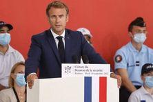 """Le Président de la République, Emmanuel Macron, à Roubaix, lors du discours de clôture du """"Bauvau de la sécurité"""" (14 septembre 2021)."""