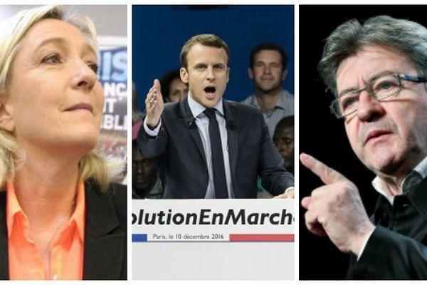 Marine Le Pen, Emmanuel Macron et Jean-Luc Mélenchon