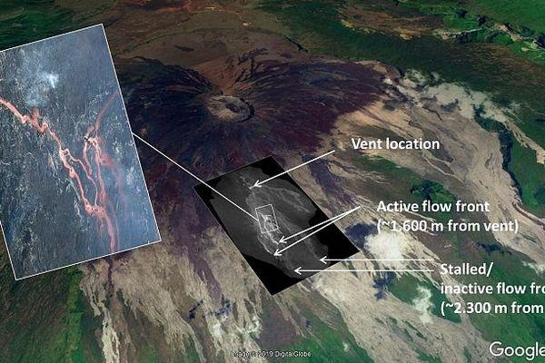 Cartographie de l'éruption de février, mars 2019