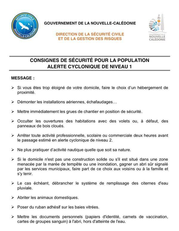 Consignes alerte 1 cyclones