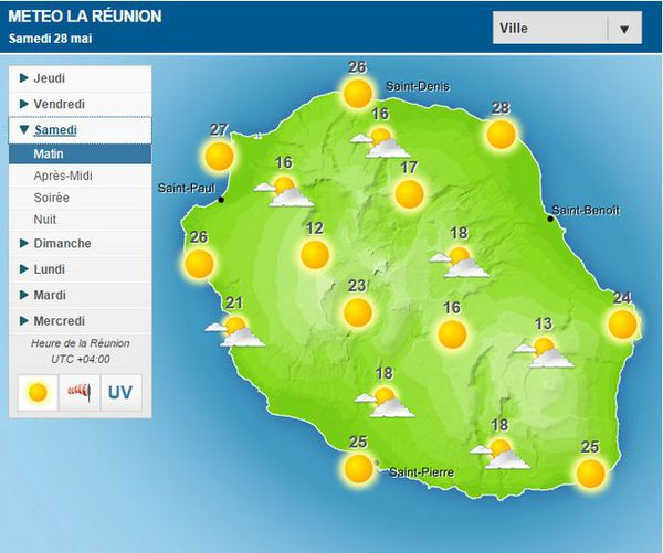 Carte météo pour le samedi 28 mai 2016