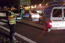 Contrôle de gendarmerie sur la route de Ducos (1er janvier 2019)
