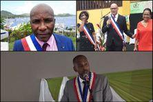 De gauche à droite : José Mirande élu maire du Marin, Yan Monplaisir maire de Saint-Joseph et Hugues Toussay maire du Diamant (en bas).