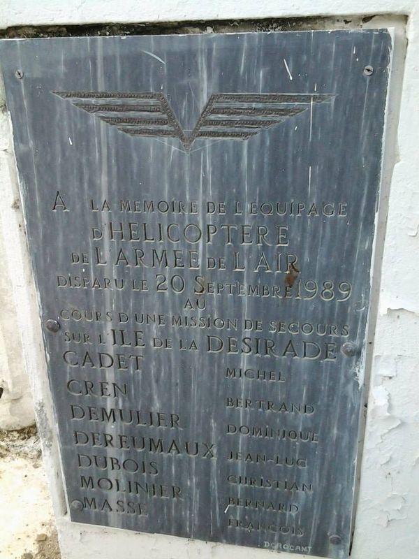 Mémorial victimes du crash du 20/09/1989, après Hugo - La Désirade