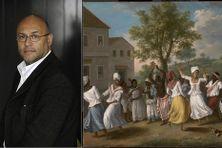 Le journaliste Bertrand Dicale, et, à droite, une peinture d'Agostino Brunias, « Scène de danse aux Antilles » (XVIIIe siècle)